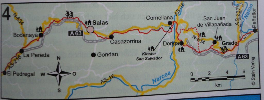 eerst van Salas naar Bodenaya