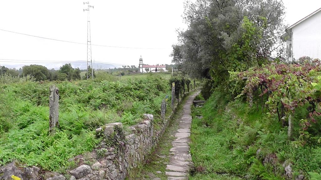 Stenen pad langs (nu) droogstaande watergang