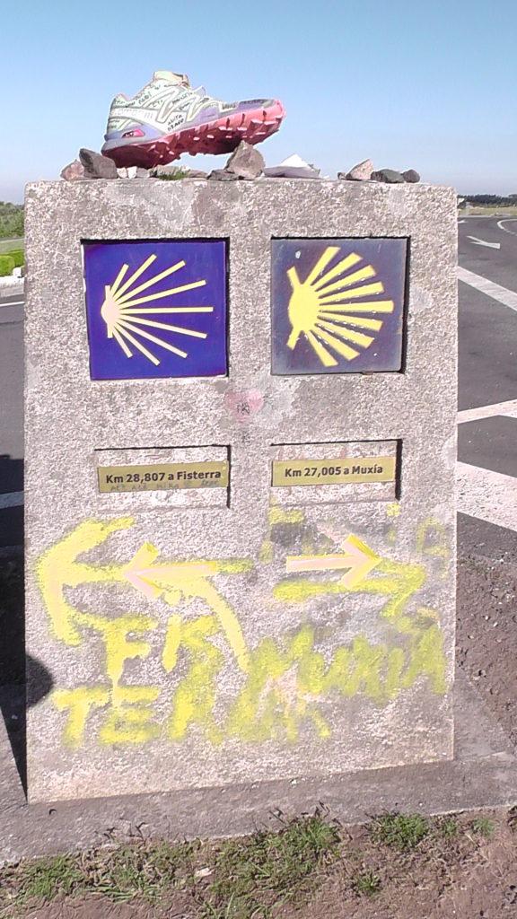 links naar Fisterra, rechts naar Muxía